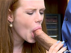 Ella Hughes smashed ball sack deep by horny mall cop