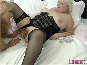 girl/girl granny munches twat