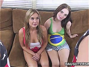 horny daughters have to plumb after losing an Olympic bet