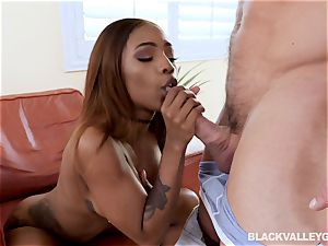 ebony honey Sarah Banks steaming rock hard rough multiracial tear up