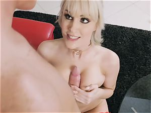 blondie milf Maxim Law messing with suspended delivery stud