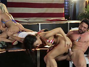 Asa Akira and Bridgette B give a special flash