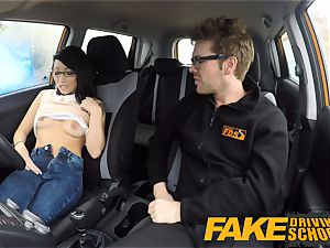 fake Driving college half japanese lil' schoolgirl pokes