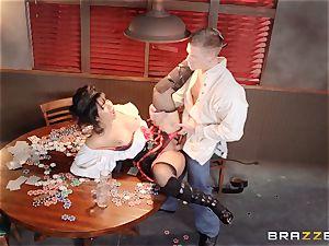 Saloon stunner Rose Monroe takes it via table