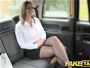 faux taxi office gal in pantyhose asslicking ass-fuck fuckfest