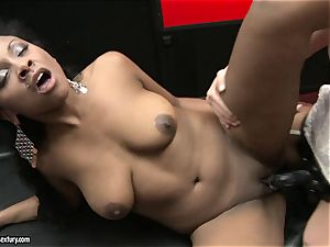 raunchy Kathia Nobili pushes her cord on rod deep down her colleague hatch