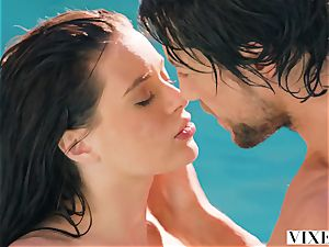ultra-cute fascinating chick Lana Rhoades has hook-up with her cute chief in the pool