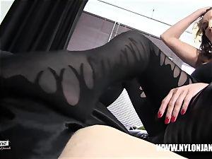 Satin underpants nylon spear foot worship masturbate with milf