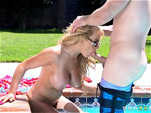 meaty titted Corinna Blake screws in the pool