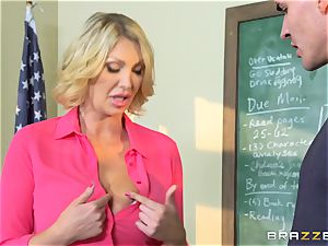 massive boobed instructor Leigh Darby classroom fuck