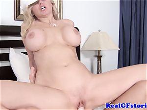 huge jugged blonde housewife loving sausage