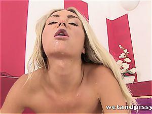 super-steamy platinum-blonde leaves her hot underpants soaked after jacking