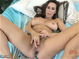 nubile Ashley Adams plumbs with two toys