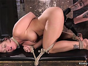 massive boobs hogtied super-bitch played in dungeon