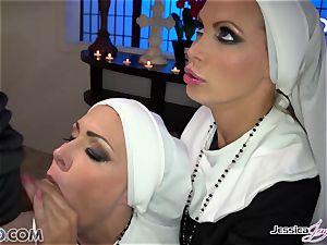 2 buxomy chaste nuns Jessica Jaymes & Nikki Benz take their abbot hard weenie