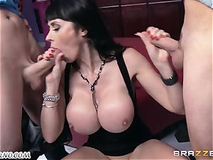 buzzed cougar Eva Karera with meaty boobs indulges on the soiree
