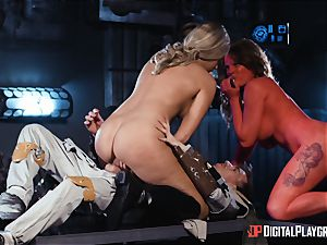 Monster weenie craving space beauties Athena Palomino and Carly Rae