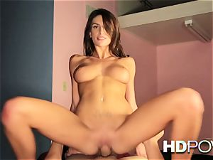 HD point of view warm dark haired with meaty boobies enjoys to bounce pipe