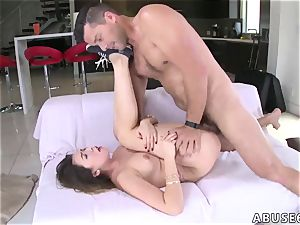 hard-core gobbling and harsh group This fuck-fest fiend gets on her knees and gives a
