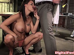 meaty breast chick horny at work for a superb spear inside