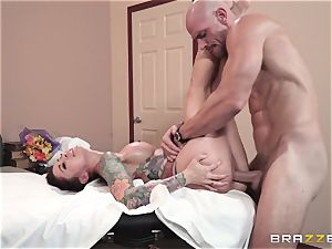 Monique Alexander filled ball sack deep in her tight muffhole
