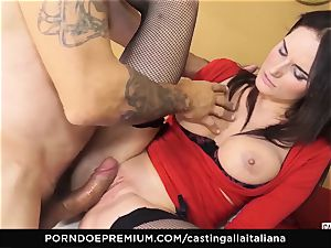 casting ALLA ITALIANA - huge-boobed black-haired loves moist rectal