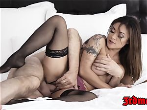 fascinating japanese stunner juggles on meaty fuck-stick