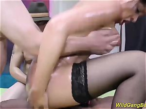 huge-titted german milf gets oiled and ravaged