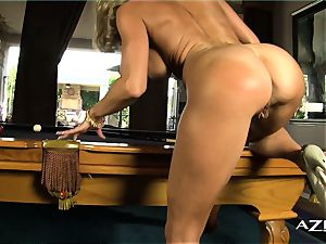 towheaded cougar fellates dildo and fills herself up