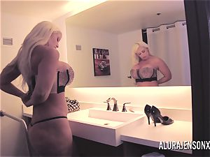 gigantic titty blond Alura Jenson penetrating a jumpy customer