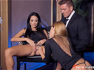 Anissa Kate and Subil bend slide some spunk-pump down their pink pretty tacos