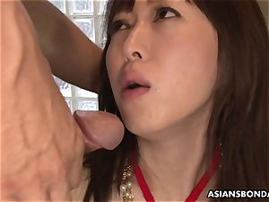 squirting chinese is roped up and used in a 3 way