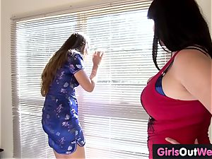 Randy hairy lesbos gobble and rim each other
