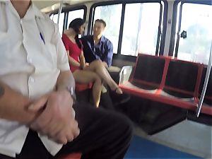 Karmen Bella bangs her stud on a crowded bus