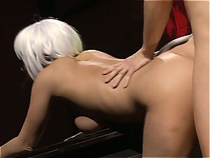 Charley chase is a platinum haired bang chick