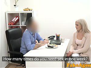 fake Agent scorching towheaded model enjoys meatpipe over the desk
