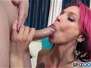 brief haired inked hotty Anna Bell Peaks tongues over rod