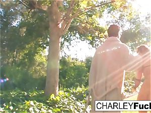 Charley gets her fuck on out by her pool