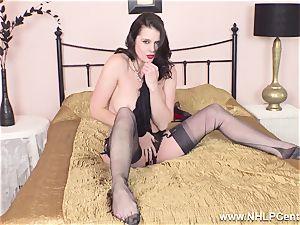 fantastic milf strokes to orgasm in sheer nylons garters