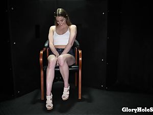 nubile dame gobbling gloryhole jizz from strangers