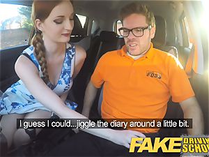 faux Driving school Nerdy red-haired teen schoolgirl