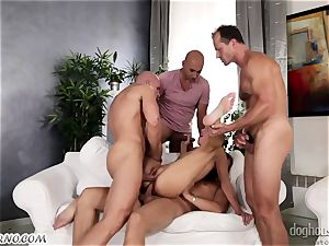 Mass gang-bang with a youthfull fuckslut and four guys