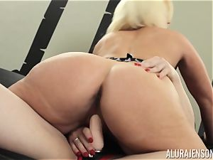 Alura Jenson honeypot filled with strapon strenuous muscled doll Brandi May