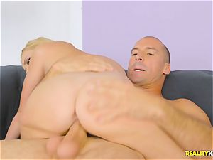 scorching blondie Brice Bardot sits on the fat fuckpole of Sean