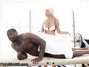 sensual Bridgette treats raging big black cock meatpipe for Job!