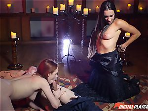 jism guzzling 3some with marvelous Ella Hughes and beautiful stunner Mea Melone