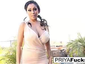 Backyard solo with Indian pornstar Priya Rai