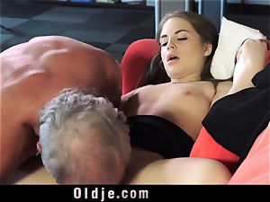 Russian dame fellate The shaft of an older granddad