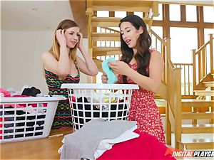 poon fondling ultra-cute Eva Lovia and Stella Cox messing in the laundry