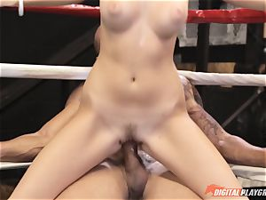 Alexis Adams cootchie puckered in the boxing ring by ginormous man rod